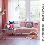 pink room pink furniture in... | Shutterstock . vector #1035989218