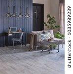 dark blue wood wall grey living ... | Shutterstock . vector #1035989239
