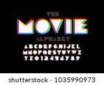 vector of colorful overlay font ... | Shutterstock .eps vector #1035990973