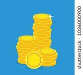 blank gold coin stacks in white ... | Shutterstock .eps vector #1036000900