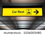 sign with arrow point to rent a ... | Shutterstock . vector #1036003480