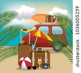 summer vacattions set icons | Shutterstock .eps vector #1036005259