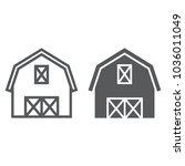 farm barn line and glyph icon ... | Shutterstock .eps vector #1036011049
