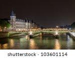 La Conciergerie and Pont au Change, over the Seine river. Paris, France. Photo taken on: May 14th, 2010 - stock photo