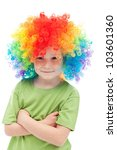 Little clown boy with colorful hair - portrait, isolated - stock photo