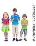 Back to school concept with preschool and school kids holding letters - isolated - stock photo