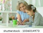 grandmother with granddaughter... | Shutterstock . vector #1036014973