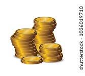 blank gold coin stacks in white ... | Shutterstock .eps vector #1036019710