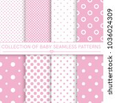 Stock vector collection of baby seamless patterns white and pink colors seamless pattern included in swatch 1036024309