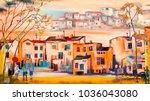 people in little european... | Shutterstock . vector #1036043080