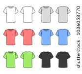 colored t shirts set on white...   Shutterstock .eps vector #1036058770