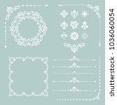 vintage white set of vector... | Shutterstock .eps vector #1036060054