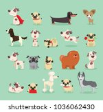 vector illustration set of cute ... | Shutterstock .eps vector #1036062430