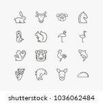 animal icon set and monkey with ... | Shutterstock .eps vector #1036062484