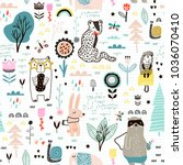 seamless childish pattern with... | Shutterstock .eps vector #1036070410