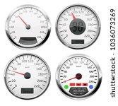 speedometers. collection of 3d... | Shutterstock .eps vector #1036073269