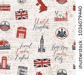 vector seamless pattern on uk... | Shutterstock .eps vector #1036079440