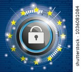 cover with bits  dlock  eu flag ... | Shutterstock .eps vector #1036081084