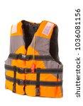 orange life jacket on white... | Shutterstock . vector #1036081156
