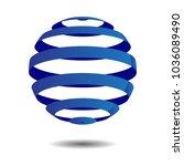 abstract circle logo design 3d... | Shutterstock .eps vector #1036089490