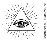 blackwork tattoo flash. eye of... | Shutterstock .eps vector #1036090870