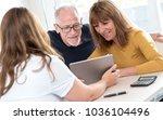 real estate agent giving... | Shutterstock . vector #1036104496