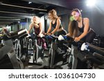 motivated athletic girls riding ... | Shutterstock . vector #1036104730
