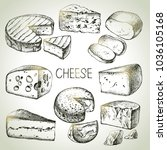 hand drawn sketch cheese types... | Shutterstock .eps vector #1036105168