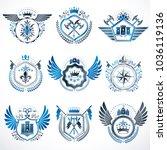 heraldic decorative emblems...   Shutterstock .eps vector #1036119136