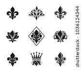 royal symbols lily flowers ... | Shutterstock .eps vector #1036124344