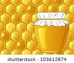 bee's honeycomb and jar of... | Shutterstock .eps vector #103612874