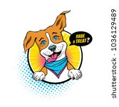 cartoon dog. funny dog with... | Shutterstock .eps vector #1036129489