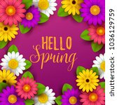 colorful spring background with ... | Shutterstock .eps vector #1036129759