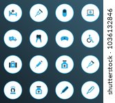 antibiotic icons colored set... | Shutterstock . vector #1036132846