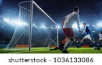 soccer game moment  on... | Shutterstock . vector #1036133086
