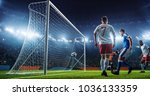 soccer game moment  on... | Shutterstock . vector #1036133359