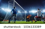 soccer game moment  on... | Shutterstock . vector #1036133389