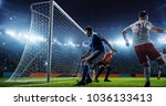 soccer game moment  on... | Shutterstock . vector #1036133413