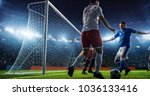 soccer game moment  on... | Shutterstock . vector #1036133416
