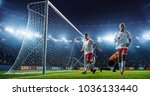 soccer game moment  on... | Shutterstock . vector #1036133440