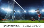 soccer game moment  on... | Shutterstock . vector #1036133470