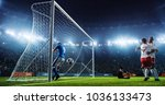 soccer game moment  on... | Shutterstock . vector #1036133473