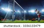 soccer game moment  on... | Shutterstock . vector #1036133479