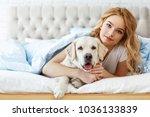beautiful teen girl with golden ... | Shutterstock . vector #1036133839