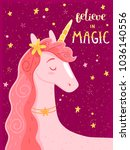 believe in magic   card with... | Shutterstock .eps vector #1036140556