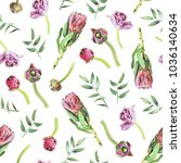 seamless floral pattern with... | Shutterstock . vector #1036140634