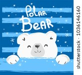 hand drawn polar bear vector... | Shutterstock .eps vector #1036146160
