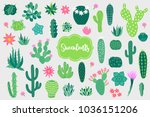set of design elements with... | Shutterstock .eps vector #1036151206
