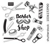 barbershop elements on a white... | Shutterstock .eps vector #1036153900