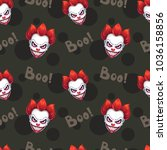 seamless pattern with scary... | Shutterstock .eps vector #1036158856